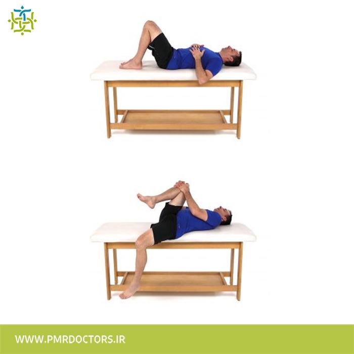 2.کشش عضلات خم کننده ی ران در حالت درازکش به پشت: