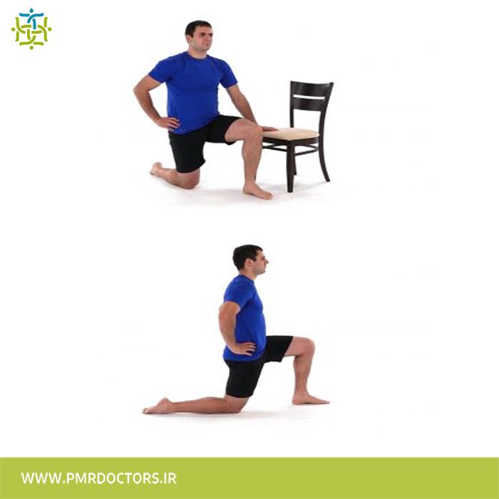 3.کشش عضلات خم کننده ی ران در حالت ایستا (استاتیک):